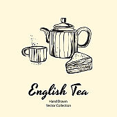 Teapot, cup and pie filling black line hand drawn vector illustration in old style for cafe menu, logo, banner, flayer