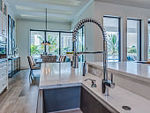 Close up of basin sink and kitchen island