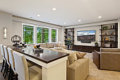 Extraordinary entertaining space to eat while watching games or movies