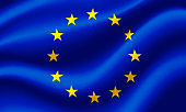 Flag of European Union waving in the wind. Render 3D.