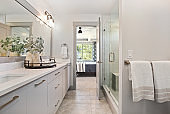 Large shower and lots of counter space