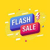 Flash Sale, Online marketing banner template design. Vector illustration