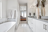 Beautiful and luxurious bathroom with free standing tub