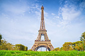 Eiffel Tower on blue sky background