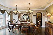 New home with elegant dining table and chairs
