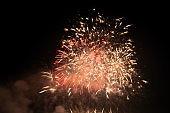 fireworks explosive on sky in night