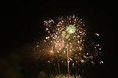 fireworks explosive on dark sky