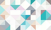 geometric pattern background composed by a sequence of overlapped squares and triangles with different colors.