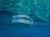 Plastic garbage underwater, Aegean Sea, Greece