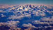 Above snowcapped Mont Blanc Massif and majestic alps – French and Italian alps