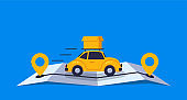 Concept online delivery using retro car with parcel, goes on online gps map vector illustration