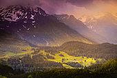 Idyllic alpine landscape with flowers at springtime in Val d'Isère, near Bonneval-sur-Arc – French alps