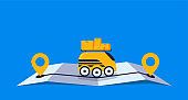Concept online delivery using robot drone with packages, goes on online gps map vector illustration