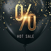 Black friday sale, dark glossy balloon with the inscription percent and hot sale on a dark background, golden confetti. Black friday banner. 3D illustration, 3D render, copy space.