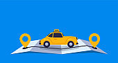 Concept online taxi using luxury retro car goes on online gps map vector illustration isolated
