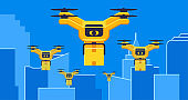 Air drones delivery with parcel flying in city, between skyscrapers concept vector illustration