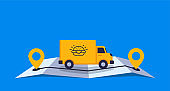 Concept online delivery using big van with food goes on online gps map vector illustration
