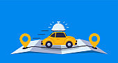 Concept online delivery using retro car with tray, goes on online gps map vector illustration