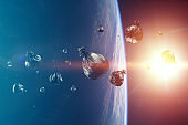 Debris in Earth orbit, dangerous debris in orbit around the planet. Elements of this image furnished by NASA.