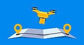 Concept online delivery using air drone with parcel on online gps map vector illustration