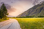 Mountain Road to Col de l'Iseran - Idyllic alpine landscape at springtime in Val d'Isère - French alps