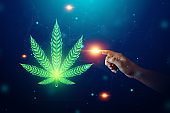 Male hands with marijuana sign, hemp leaf, cannabis consumer symbol. The concept of legalization of marijuana medical use, the impact on the psyche. Copy space.
