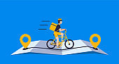 Courier with package using bicycle ride on the online map for delivery concept online delivery
