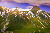 Idyllic alpine landscape at springtime in Val d'Isère, Vanoise – French alps