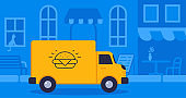 Concept online delivery using big truck with food goes on blue background street vector illustration