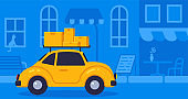 Concept online delivery using retro car with parcel, goes on blue background street vector illustration