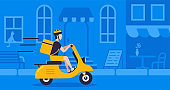Courier with food bag using retro motorbike on street blue background for delivery, concept online delivery