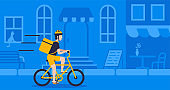 Concept online delivery using bicycle ride with parcel ride on street blue background vector illustration isolated