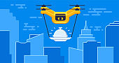 Air drone delivery with food tray flying in urban, between skyscrapers concept vector illustration