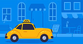 Concept online taxi using luxury retro car goes on street blue background vector illustration