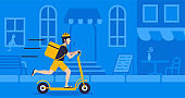 Courier with package using electric scooter on street blue background for delivery concept online delivery