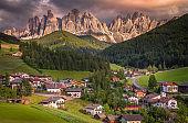 Idyllic St Magdalena cityscape landscape at sunset, Dolomites alps – Italy