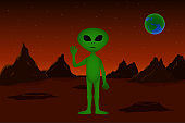 Alien stand on Mars surface with raised hand. Extraterrestrial civilization. Vector illustration