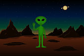 Martian stand on Mars planet with raised hand. Cartoon style. Vector illustration