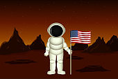 Colonization of planet Mars by USA. Vector illustration