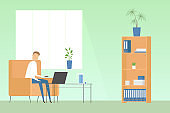 Man sitting with laptop in cozy home office. Teleworking. Vector illustration