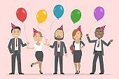 Multiethnic group of people celebrating birthday. Vector illustration
