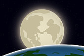 View of Earth and Moon from outer space. Vector illustration