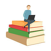 Student sitting with laptop on stack of books. Vector illustration