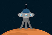 Alien building stand on planet surface. Vector illustration