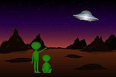 Two green Martians looking to flying saucer. Vector illustration