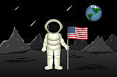 American astronaut stand on planet Mars and hold flag of USA. Vector illustration