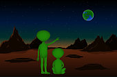 Two aliens look to Earth from Mars. Vector illustration