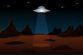 Flying saucer above planet Mars. Vector illustration