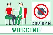 Coronavirus vaccine injection. Vector illustration