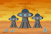 Alien buildings on planet Mars. Vector illustration